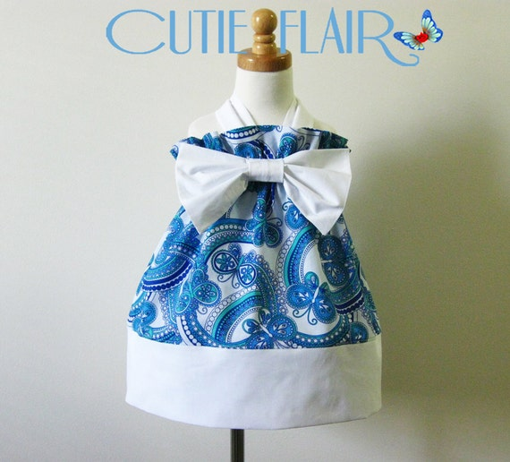 Halter Dress Whimsi Butterfly Blue/White Print and Bow Size 2T - ON SALE