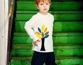 Boys.... Autumn Tree Outfit.... Applique Tee and Corduroy Pants.... handmade childrens clothing by laken and lila...