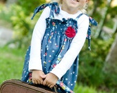 The Delainey Vintage Floral Collection.... Blue Floral Trellis Smocked Dress..... handmade childrens clothing by laken and lila