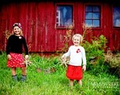 2 skirt package....Coordinating Sibling Skirts... big sister.. little sister... perfect for photo shoots.....and holidays