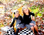 2 piece package....1 skirt and 1 dress....Coordinating Sibling Outfits... big sister.. little sister... perfect for photo shoots...