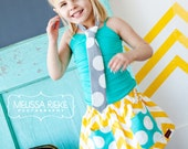 Childrens Clothing....Buy 2 skirts get 1 Free.....Yellow Chevron twirl skirt with Turquoise Polka Dot Pockets... MRP line...