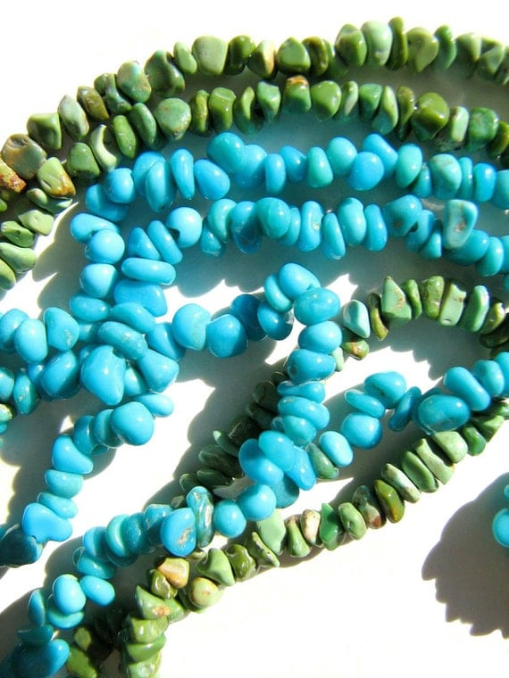 Two 16 Inch Strands Turquoise Natural Nugget Beads-Green and Sleeping Beauty