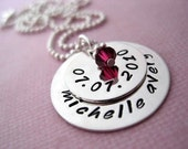 Hand Stamped Mommy Jewelry - Personalized Sterling Silver Necklace - Baby Day