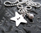 Hand Stamped Initial Necklace - Personalized Jewelry - Teeny Tiny Star with Birthstone