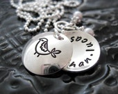 Hand Stamped Mommy Jewelry - Personalized Sterling Silver Necklace - Mama Bird Locket