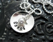 Hand Stamped Mommy Jewelry - Personalized Sterling Silver Necklace - TINY Cup with Birthstone