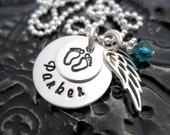 Hand Stamped Mommy Necklace - Personalized Jewelry - Angel Baby Tiny Stacker