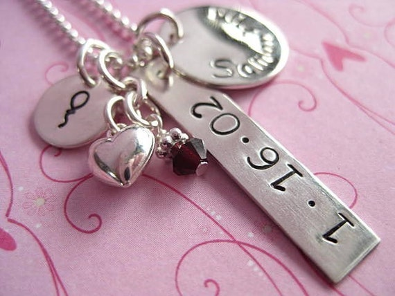 A Little BIRTHDAY Love -  Hand Stamped Personalized Name and Date Sterling Silver Mulit Tag Necklace