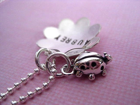 Little Miss Ladybug  - Personalized Hand Stamped Sterling Silver Necklace