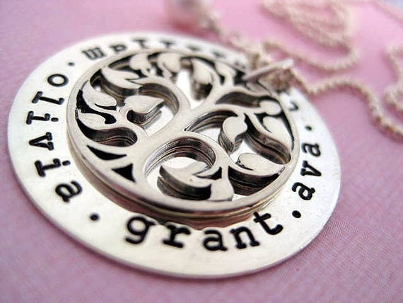 MY FAMILY TREE - Hand Stamped Sterling Silver Pendant Necklace