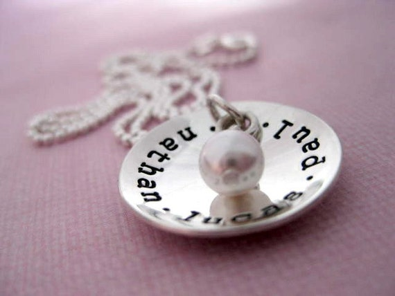 Cup of Love Brag - Hand Stamped Sterling Silver Name Pendant with Swarovski Pearl