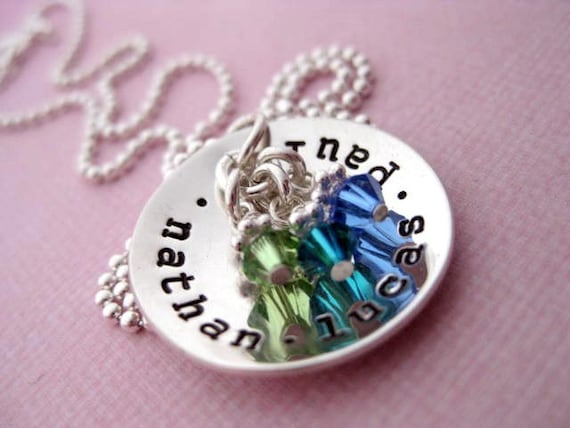 Hand Stamped Jewelry - Sterling Silver Personalized Necklace - Cup of Love with Birthstones