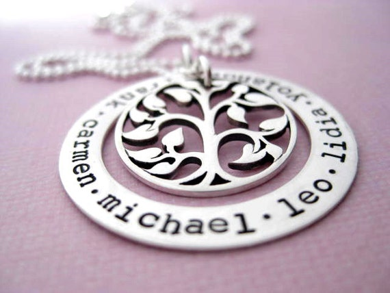 My Family Tree - Hand Stamped Jewelry - Personalized Sterling Silver Family Necklace - Washer Style - My Family Tree