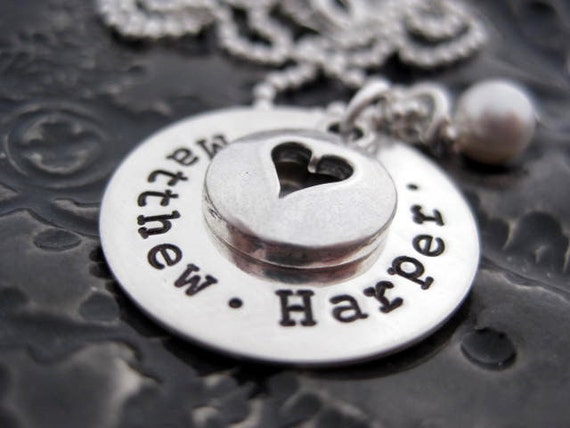 Hand Stamped Mommy Necklace - Sterling Silver Personalized Jewelry - Open Your Heart