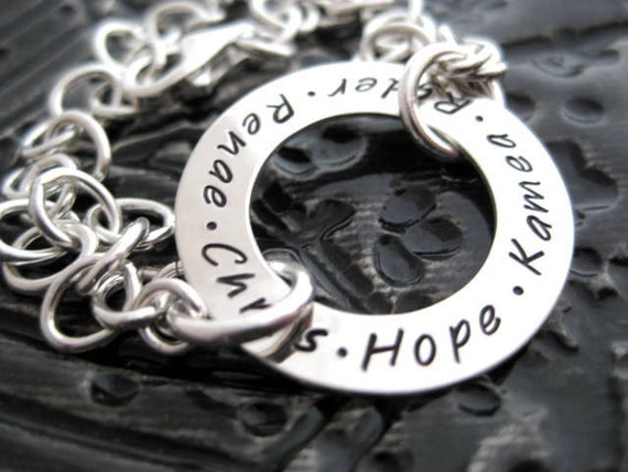 Family All Around Bracelet - Hand Stamped Sterling Silver Personalized Washer Bracelet