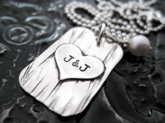 Personalized Hand Stamped Necklace - Sterling Silver Jewelry - Carved In A Tree