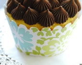 Dozen Amy Butler Cool Floral Cupcake \/ Muffin Wrappers