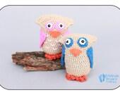 owl amigurumi crochet owl with blue,  Woody the Owl