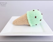 ice cream cone rattle crochet play food mint chocolate chip