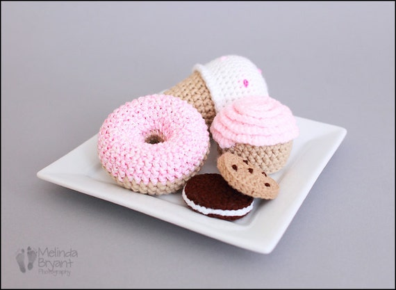Crochet Play Food Sweet Shop Treats