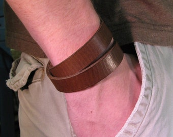 Leather bracelet - Double wrap cuff bracelet