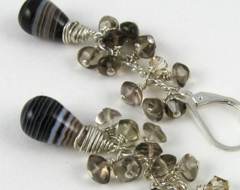 Black and Tan earrings, smoky brown quartz beaded clusters with black agate gemstone dangles on sterling silver
