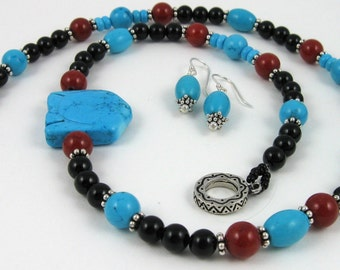 Southwestern Fish Necklace, turquoise, red, and black gemstone beads with sterling silver, and coordinating dangle earrings