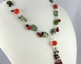 Berry Red and Leaf Green Necklace, wire-wrapped beaded clusters, adjustable length