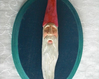 Hand Carved Blue Wizard Wall Hanging