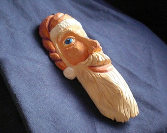 Santa Claus St Nicholas Tree Ornament  Hand Carved