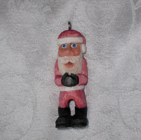 Hand Carved Santa Ornament - Small Red