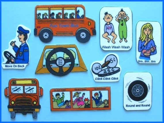The Wheels On The Bus Felt / Flannel Board Set By
