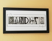 Personalized Name Frame Print (10x20) unframed