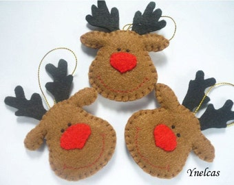 Rudolph the red nosed reindeer - felt Christmas ornament - handmade decorations -  personalized felt ornament- ONE ORNAMENT