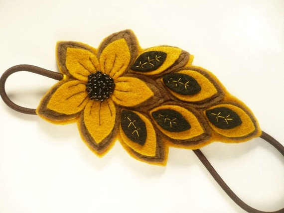 Headband, brown and yellow mustard beaded felt flower women's elastic hairband