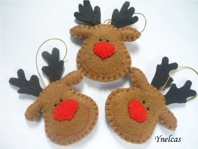 rudolph the red nosed reindeer felt christmas ornament handmade decorations personalized felt ornament - Christmas Reindeer Decorations