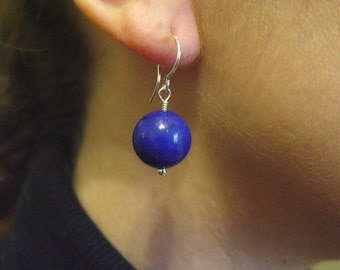 Lapis Colored Candy Jade and Sterling Earrings