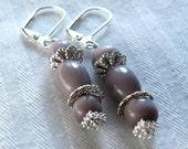 Happy - Purple Beaded Earrings