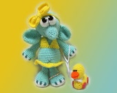 Amigurumi Pattern -The Little Elephant in a swimsuit and a toy duck.