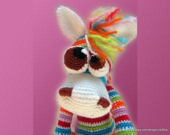 Crochet toy Amigurumi Pattern -  Bonya, the Rainbow Horse