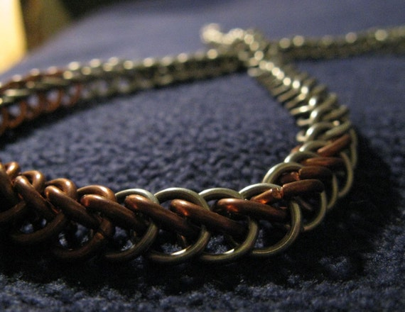 Aluminum and Copper Half-Byzantine Necklace