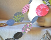 9 Ft. Stitched Paper Circle Garland in Grey, Lime Green, Brown, Pink and Red Bunting