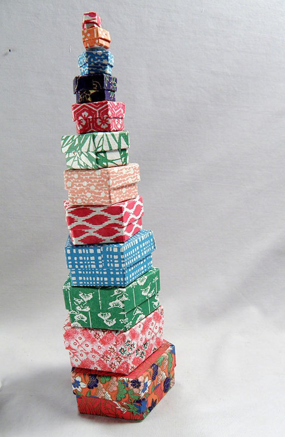 12 Japanese Paper Boxes NESTING