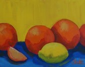 Orange versus Lemons  9 x 12 original oil painting