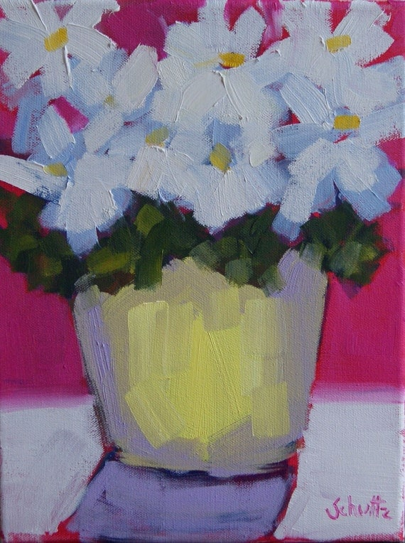 hot pink daisy whites  9 x 12 original oil painting