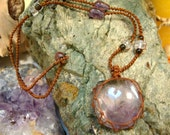 organic AMETHYST macrame Necklace - Your Stone for PROTECTION