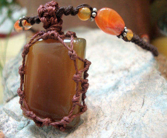 organic Orange CALCITE macrame Necklace - Stone for Cleansing - healing crystal pendant hippie om fairy pixie