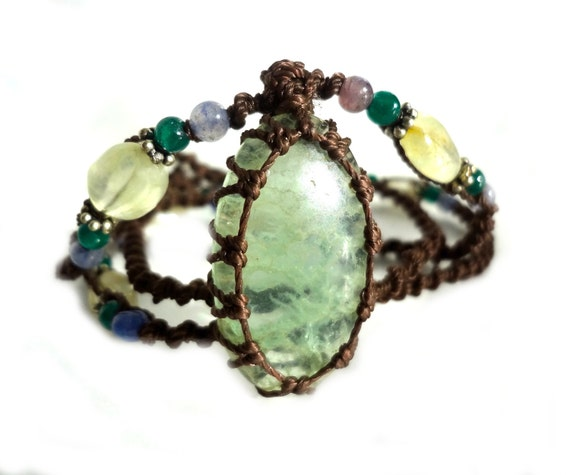 green CALCITE macrame Necklace - Your Stone for Cleansing-ethnic healing crystal tribal