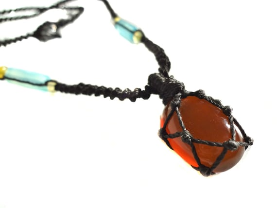 orange CALCITE macrame Necklace - Your Stone for Cleansing-ethnic healing crystal tribal - adjustable